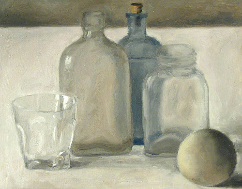 Glass Vessel & Ball. Max Lieberman. Oil Painting. Courtesy of the artist