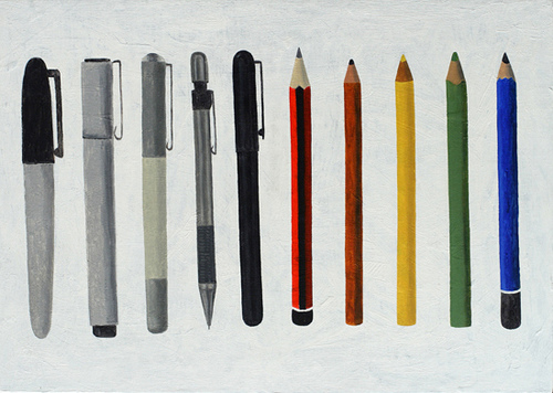 Pens. Oil painting. Courtesy of the artist