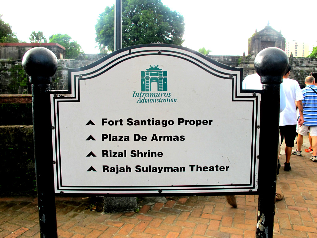 Signage at Fort Santiago, Old Manila