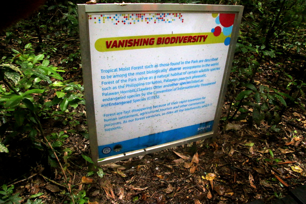 Vanishing Biodeversity Sign at the start of the Jungle Trail